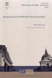 Henri Bouillon - Recherche sur la définition du droit public.