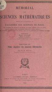 Henri Dulac et  Académie des sciences de Paris - Points singuliers des équations différentielles.