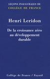 Henri Leridon - De la croissance zéro au développement durable.