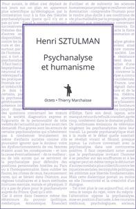 Henri Sztulman - Psychanalyse et humanisme.
