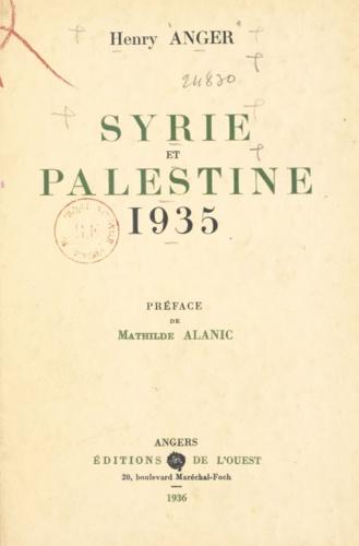 Syrie et Palestine. 1935