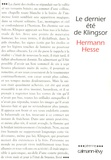 Hermann Hesse - Le dernier été de Klingsor.