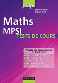 Hervé Gianella et Franck Taïeb - Maths MPSI -  tests de cours.
