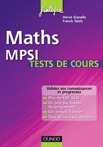 Hervé Gianella et Franck Taïeb - Maths MPSI -  tests de cours.