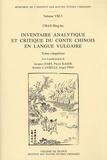 Hing-ho Chan - Inventaire analytique et critique du conte chinois en langue vulgaire - Tome 5.