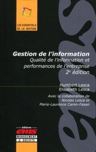 Gestion de l'information - Humbert Lesca |