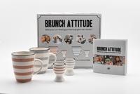 I2C - Brunch attitude - Coffret avec un livre de 20 recettes, 2 tasses et 2 coquetiers.