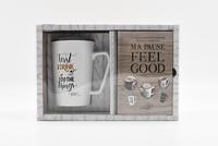 I2C - Coffret blanc ma pause feel good - Le livre de recettes de boissons chaudes et gourmandes avec un mug blanc.