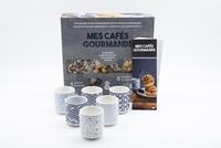 I2C - Coffret mes cafés gourmands (bleu) - Le livre de recettes avec 6 tasses en céramique.