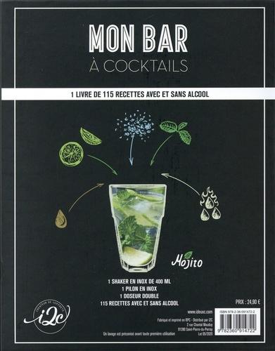 Coffret Mon bar à cocktails, avec et sans alcool. Festival de cocktails avec 1 shaker en inox de 400 ml, 1 pilon en inox, 1 doseur double