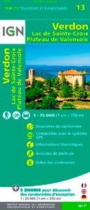 IGN - Verdon, Lac de Sainte-Croix, Plateau de Valensole - 1/75 000.