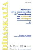 INRP - Didaskalia N° 21, Octobre 2002 : Enseigner les sciences dans l'enseignement secondaire.