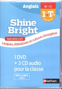 Corinne Escales et Catherine Baudry - Anglais 1re/Tle B1>C1 Shine Bright spécialité LLCE. 1 DVD + 3 CD audio