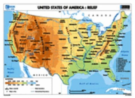 Eduscope et  Nathan - Carte murale Etats-Unis : relief / population et villes.