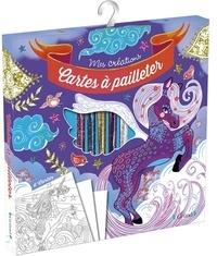 Anne Cresci - Cartes à pailleter chevaux magiques - Avec 6 cartes, 1 outil pour détacher les surfaces autocollantes, 5 tubes de paillettes.