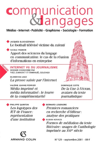 Collectif - Communication et Langages N° 129, Septembre 20 : Internet vu du journalisme.