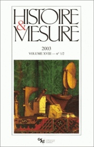 Vanessa Léa et Stéphane Morabito - Histoire & Mesure Volume 18 N°1-2/2003 : .