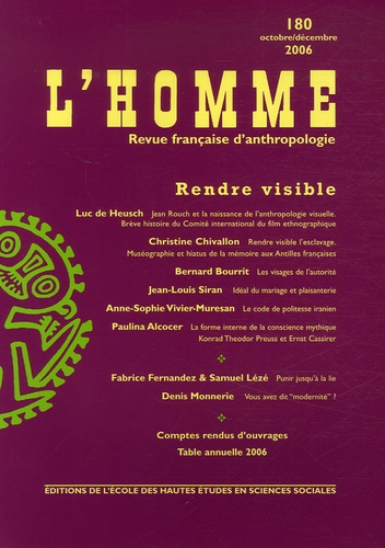 EHESS - L'Homme N° 180, Octobre-déce : .