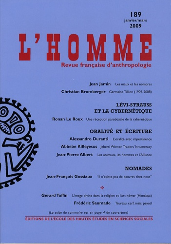 Jean Jamin et Christian Bromberger - L'Homme N° 189, Janvier-Mars : .