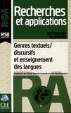 Eliane Gouvêa Lousada et Jean-Paul Bronckart - Le français dans le monde N° 58, juillet 2015 : Genres textuels/discursifs et enseignement des langues.