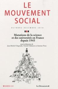 Jean-Michel Chapoulie et Patrick Fridenson - Le mouvement social N° 233, Octobre-Déce : Mutations de la science et des universités en France depuis 1945.