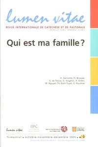 Joël Molinario et Henri Derroitte - Lumen Vitae Volume 60 N° 4, Déce : Qui est ma famille ?.
