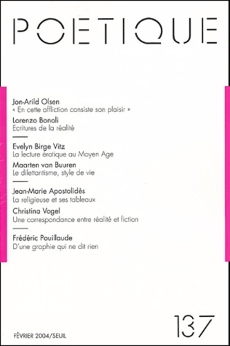 Seuil - Poétique N° 137 : .