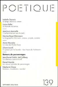 Isabelle Daunais et Luzius Keller - Poétique N° 139 : .