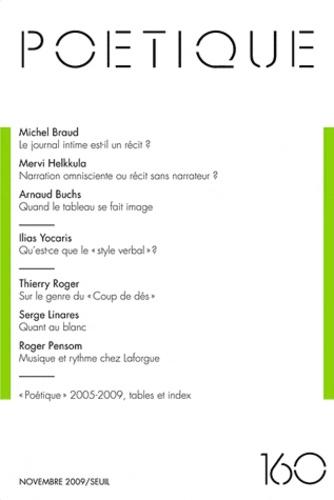 Michel Braud et Arnaud Buchs - Poétique N° 160, Novembre 200 : .