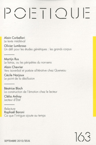Alain Corbellari et Olivier Lumbroso - Poétique N° 163, Septembre 20 : .