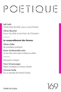 Michel Charles - Poétique N° 169, février 2012 : Le renouvellement des formes.