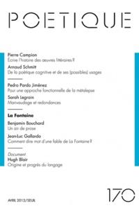 Michel Charles - Poétique N° 170, Avril 2012 : .