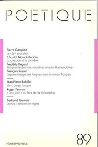 Seuil - Poétique N° 89 : .