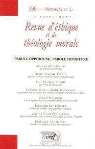 Henri-Jérôme Gagey et Luc-Thomas Somme - Revue d'éthique et de théologie morale N° 236, Hors-série N : .