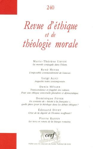 Marie-Thérèse Urvoy et René Heyer - Revue d'éthique et de théologie morale N° 240, Septembre 20 : .