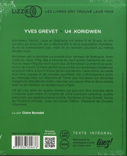 U4  koridwen -  avec 1 CD audio MP3