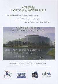Irem de Strasbourg - Actes du XXXIIIe Colloque COPIRELEM des professeurs et des formateurs de mathématiques chargés de la formation des maîtres. 1 Cédérom