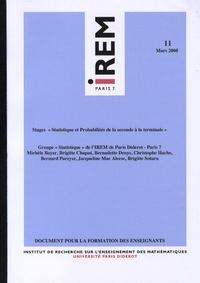 """IREM - Stages """"Statistique et probabilités de la seconde à la terminale""""."""