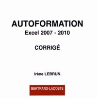Autoformation Excel 2007-2010- Corrigé - Irène Lebrun | Showmesound.org