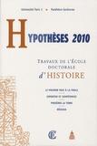 Irina Gridan - Hypothèses 2010 - Travaux de l'Ecole doctorale d'histoire.