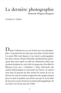 Isabelle Rèbre - La dernière photographie - Sarabande d'Ingmar Bergman.