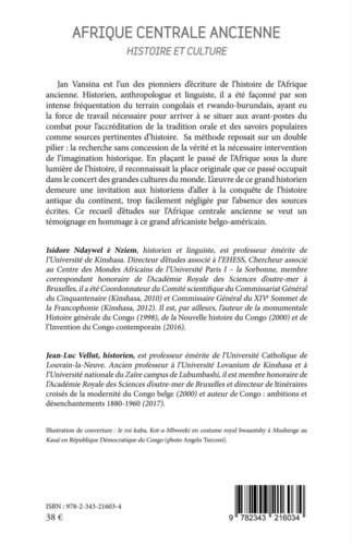 Afrique centrale ancienne. Histoire et culture - En partage avec Jan Vansina