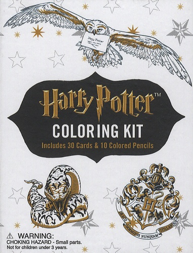 J.K. Rowling - Harry Potter Coloring Kit - Including 30 Cards & 10 Colored Pencils.