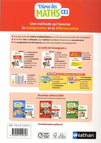 Mathématiques CE1 Vivre les maths. Guide pédagogique  Edition 2019