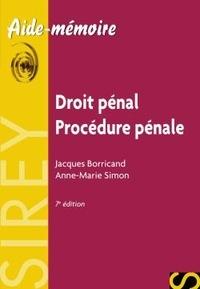 Jacques Borricand et Anne-Marie Simon - Droit pénal Procédure pénale.