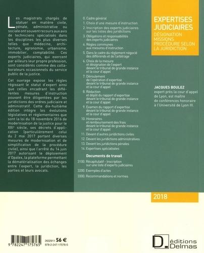 Expertises judiciaires. Désignation, missions, procédure selon la juridiction  Edition 2018