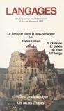 Jacques Caïn et René Diatkine - Langages - IIe Rencontres psychanalytiques d'Aix-en-Provence, 1983. Le langage dans la psychanalyse.