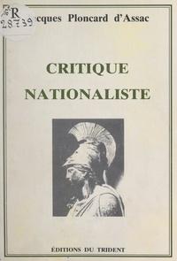 Jacques Ploncard d'Assac - Critique nationaliste.