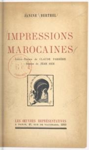Janine Berthel et Jean Hée - Impressions marocaines.