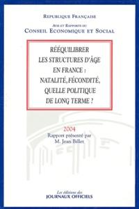 Jean Billet et  Conseil Economique et Social - Rééquilibrer les structures d'âge en France : natalité, fécondité, quelle politique de long terme ?.